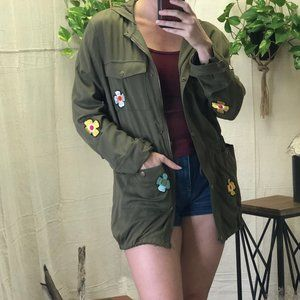 English Factory army jacket with flower applique